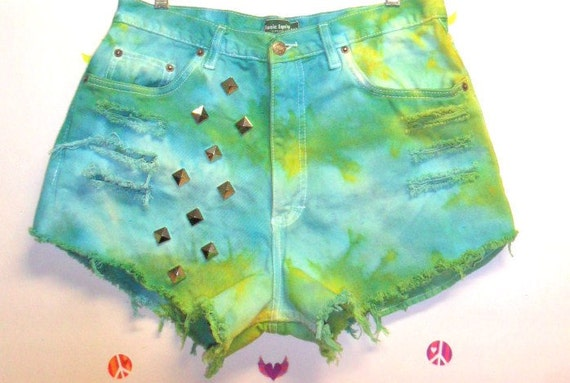 Vintage High Waisted TIE  Dyed  Denim Shorts - Studded Waist 31 inches