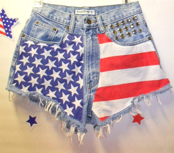 Vintage High Waisted Denim Shorts - American Flag Style--Studded -- Waist 26   inches-----Ready to Ship