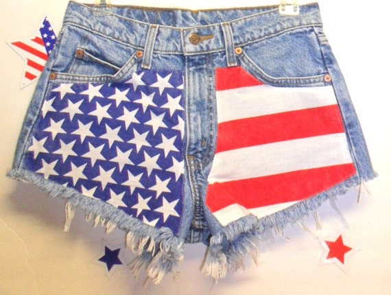 Vintage  Levis High Waisted Denim Shorts - American Flag Style-- Waist 29 inches-----Ready to Ship