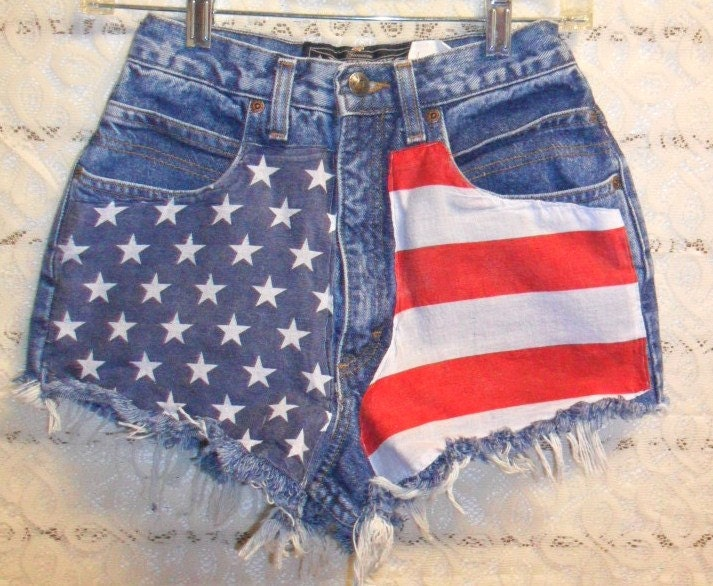 Vintage High Waisted Denim Shorts American Flag Style Waist