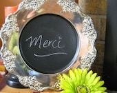 Charming French Country Rustic Silver Platter Chalkboard