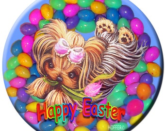 "Personalized Easter Yorkie Yorkshire Terrier 3.5"" Magnet Custom Pet Art"