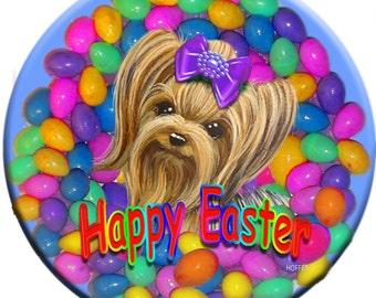 Personalized Easter Yorkie yorkshire Terrier Pocket Mirror Custom Pet Art