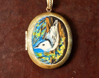 Hand Painted Locket Nuthatch Painting Original Art by Ladyjanes Posin Parlor