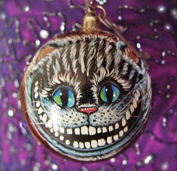 Hand Painted Cheshire Cat Wonderland Original Art Christmas Ornament 1.