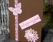 Be Happiness Pink Brown Butterfly Flower Blank Card