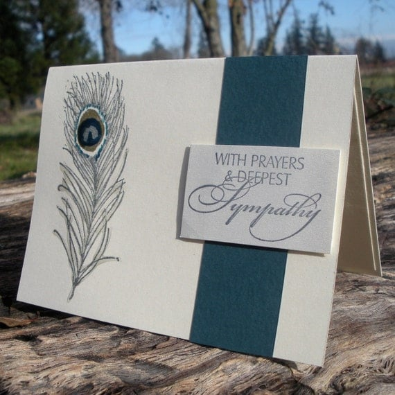 Stamped Peacock Feather Sympathy Card