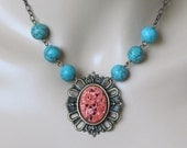 Turquoise Necklace Coral Necklace Red Necklace Southwestern Necklace Women Jewelry Gift Asian Necklace Pendant Necklace Shabby Chic Necklace