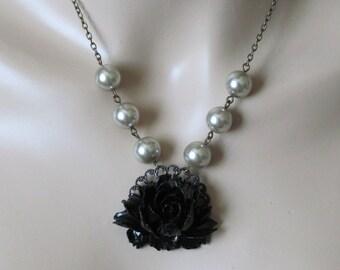 Black Necklace Bridal Jewelry Black Rose Necklace Bridesmaid Necklace Flower Necklace Women Jewelry Gift Romantic Jewelry Gothic Jewelry