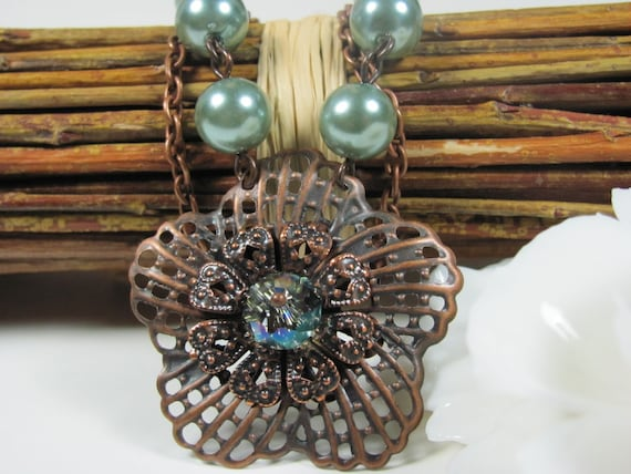 Flower Necklace Green Necklace Antique Copper Necklace Filigree Necklace Pearl Necklace Pendant Necklace Women Jewelry Gift Vintage Necklace