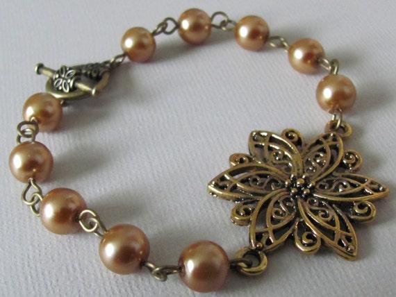 Flower Bracelet Filigree Bracelet Gold Bracelet Pearl Bracelet Bridesmaid Bracelet Women Jewelry Gift Bridal Jewelry Wedding Bracelet Bronze