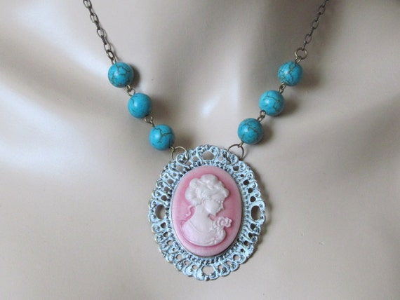 Shabby Chic Necklace Pink Necklace Marie Antoinette Jewelry Pink Cameo Cameo Necklace Victorian Jewelry Pendant Necklace Turquoise Necklace