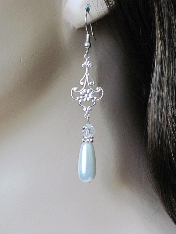 Chandelier Earrings Wedding Earrings Bridal Jewelry Bridesmaid Earrings Women Jewelry Gift Rhinestone Earrings Teardrop Earrings Pearl
