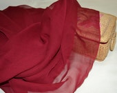 Silk Fabric, silk chiffon yardage, Cranberry, bridal fabric, formal, 2 yards, new