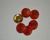 """Metal Buttons, floral, red and gold, 3/4"""", new, Made in Italy"""