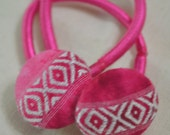 Pink pony tail elastic covered button, tie dye hair accessories for girls