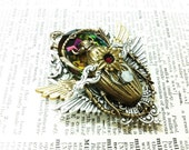 Sarabi Scarab Queen (pink blue fuschia) Aged brass filigree pendant Fantasy mythology inspired Vintage victorian steampunk gothic