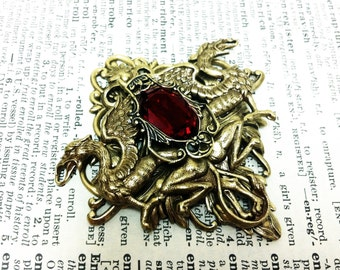 Gryffindor - Aged brass filigree pendant-Fantasy mythology inspired jewelry-Vintage victorian steampunk gothic style