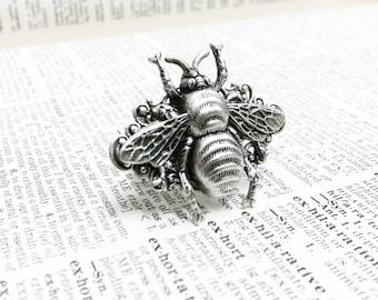Silverwood II Bee filigree ring  Aged brass filigree ring