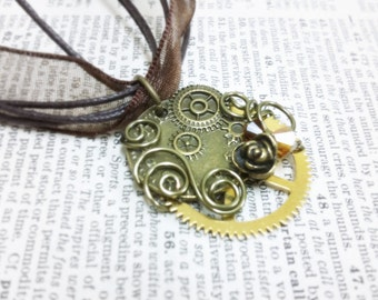 50% SALE Steampunk Honey Wire Wrapped Aged brass filigree pendant Fantasy mythology inspired jewelry Vintage victorian steampunk gothic
