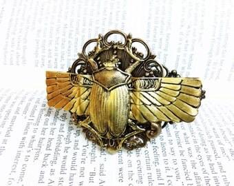 Khepera - Aged brass filigree pendant Fantasy mythology inspired jewelry Vintage victorian steampunk gothic style