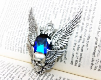 Nephthys - (Silver/Blue) Aged silver plated brass filigree pendant  - Fantasy mythology jewelry Vintage victorian steampunk gothic style