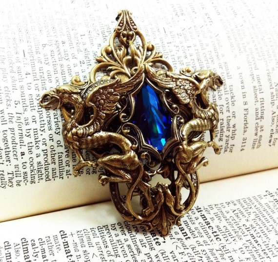 Gryphon Tear - Aged brass filigree pendant - Fantasy mythology inspired jewelry - Vintage victorian steampunk gothic style