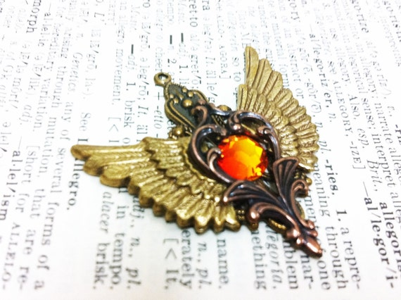 50% SALE Hestia Winged Heart Aged brass filigree pendant Fantasy mythology inspired jewelry Vintage victorian steampunk gothic