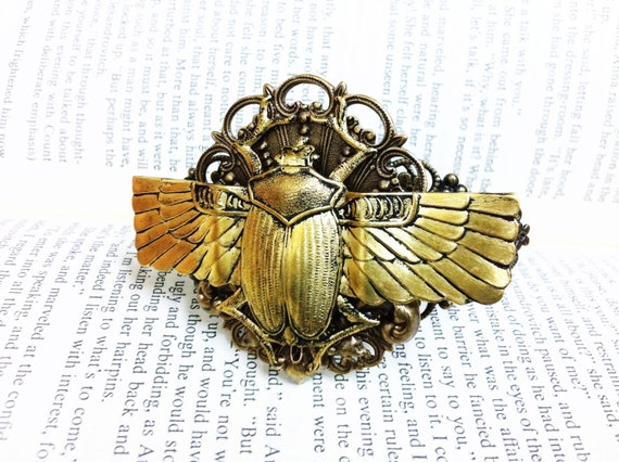 Khepera - Aged brass filigree pendant Fantasy mythology inspired jewelry Vintage victorian steampunk gothic style