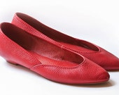 Red Brazilian Leather Flats Size 7M