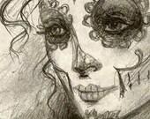 A3 Neo Victorian Gothic Dia de los Muertos - Day of the Dead - La Calavera Catrina Woman Tattoo Art Print Cathy FitzGerald