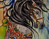 A3 Victorian Circus Carousel Horse in Forest Art Print Cathy FitzGerald