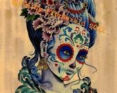 A4 Marie Antoinette Dia de los Muertos Tattoo Art Print Cathy FitzGerald