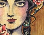 A3 Sombrero Girl Tattoo Art Print Cathy FitzGerald
