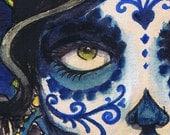 A3 Sombrero Day of the Dead Sugar Skull Tattoo Art Print Cathy FitzGerald