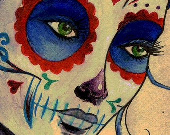A3 Cardstock- Dia de los Muertos Day of the Dead Marie Antoinette Inspired Tattoo Girl - Print
