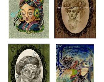 Buy three, get four A4 cardstock prints - bulk art prints tattoo flash dia de los muertos gothic victorian