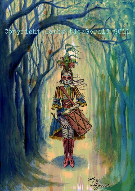 A4 Victorian Gothic Dia de los Muertos Drummer Girl Tattoo Art Print Cathy FitzGerald