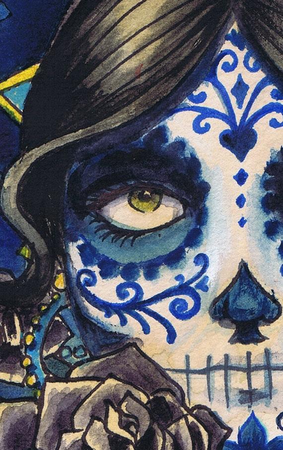 A3 Sombrero Day of the Dead Sugar Skull Tattoo Art Print Cathy FitzGerald
