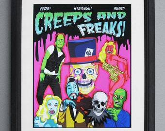 "Creep & Freaks  Giclee Print 11"" by 14"" Unframed"