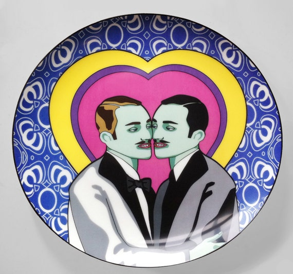 "Adam & Steve - Limited Edition 10"" Porcelain Coupe Dinner Plate"