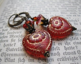 Red Heart Earrings. Victorian Gothic Lipstick Red Sacred Heart Earrings