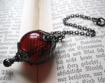 Witch Ball in Gunmetal and Blood Red. Wee Portable Spirit Catcher. Glass Christmas Ornament. Pagan Wicca