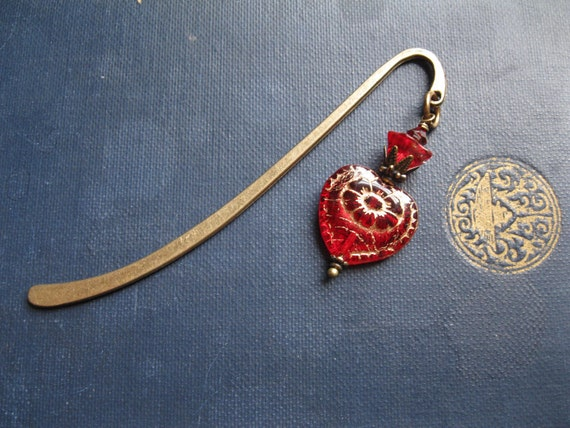 Red Heart Bookmark. Hair Jewelry. Burlesque Bibliophile Victorian Heart Valentine Gift
