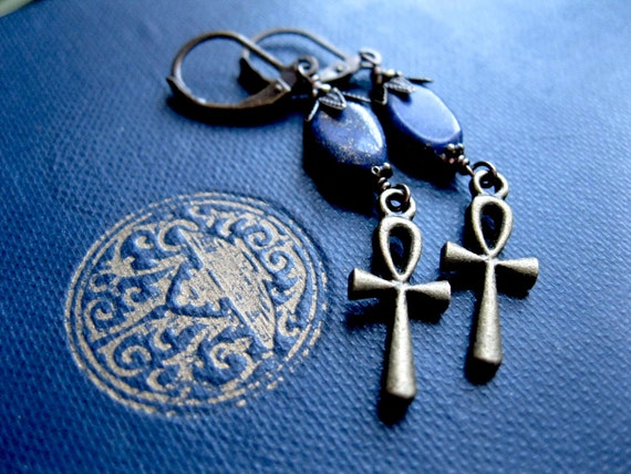 Ankh Earrings in Brass and Lapis.  Steampunk Gothic Egyptian Revival. Wadjet.