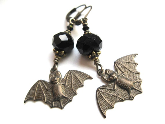 Brass Bat Earrings. Gothic Earrings with Jet Black Crystals
