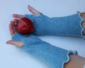 Blue Upcycled Wool Sweater Fingerless Arm Warmers