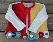 Children Recycled Wool Sweater Cardigan Upcycled