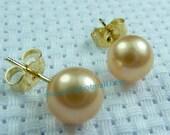 Wow, 8mm Top Grade golden South Sea Pearls Earring 14K