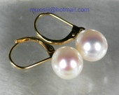 Genuine AAA upper Grade 9x11mm White Drop Akoya Pearl Earring 14K